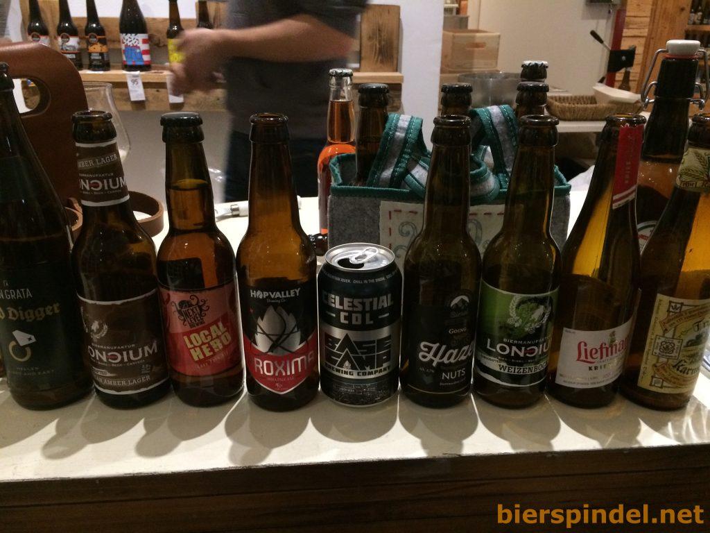 Bierauswahl bei einem Tasting im Beer Store Vienna